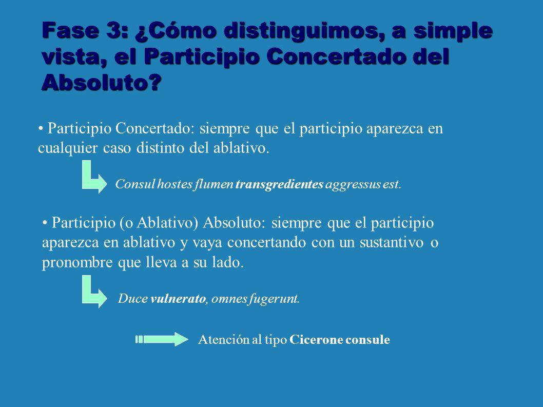 Fase 3: ¿Cómo distinguimos, a simple vista, el Participio Concertado del Absoluto.