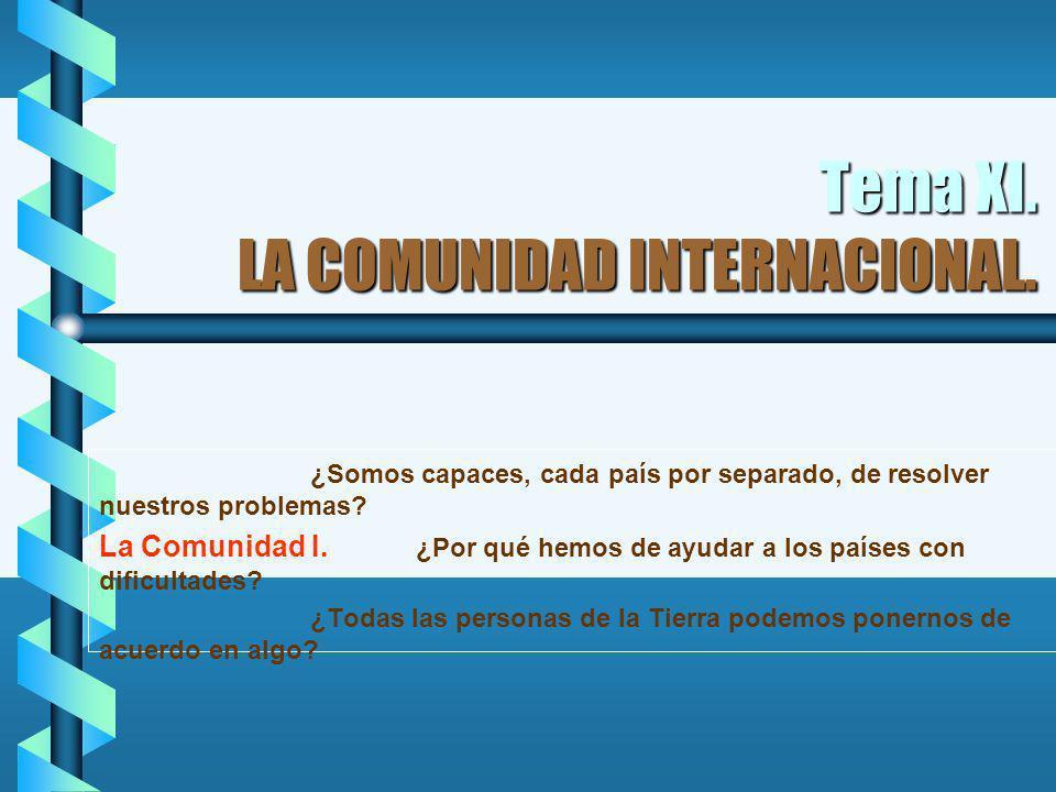 Tema XI. LA COMUNIDAD INTERNACIONAL. ¿Somos capaces, cada país por separado, de resolver nuestros problemas? La Comunidad I. ¿Por qué hemos de ayudar
