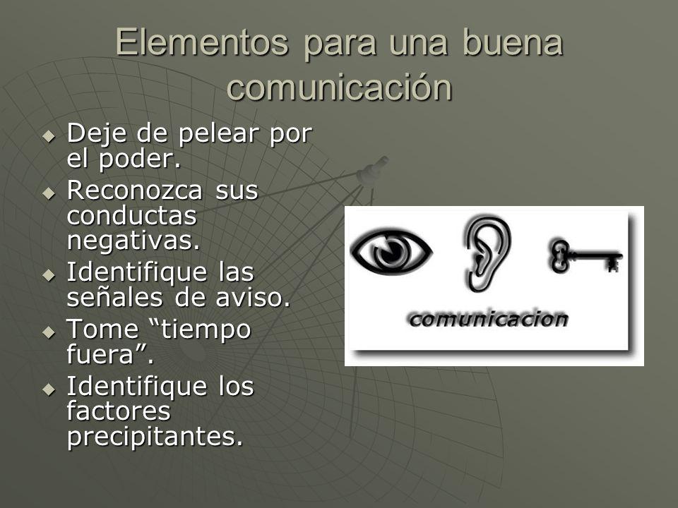 Elementos para una buena comunicación Deje de pelear por el poder. Deje de pelear por el poder. Reconozca sus conductas negativas. Reconozca sus condu