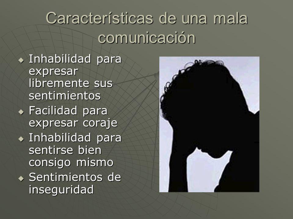 Características de una mala comunicación Inhabilidad para expresar libremente sus sentimientos Inhabilidad para expresar libremente sus sentimientos F