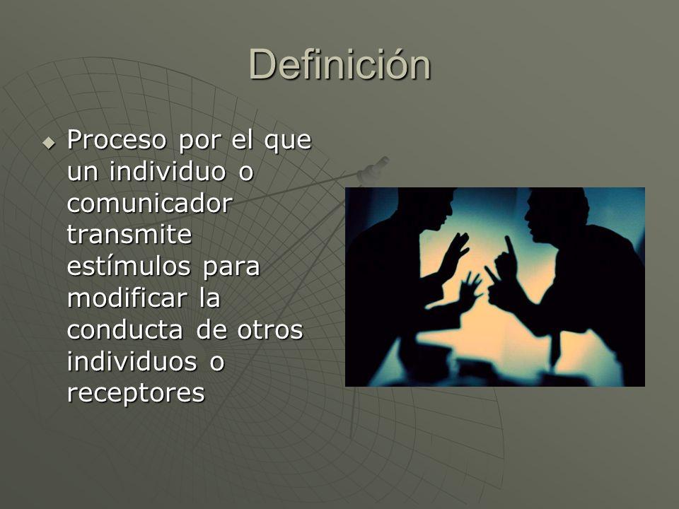 Definición Proceso por el que un individuo o comunicador transmite estímulos para modificar la conducta de otros individuos o receptores Proceso por e