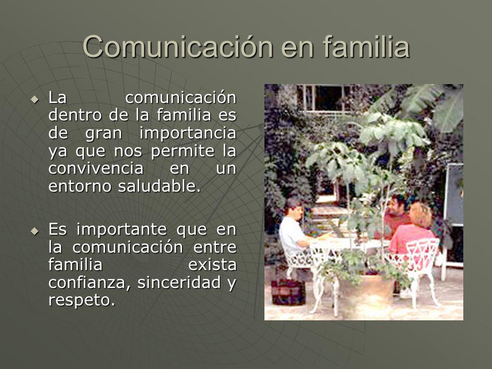 Comunicación en familia La comunicación dentro de la familia es de gran importancia ya que nos permite la convivencia en un entorno saludable. La comu