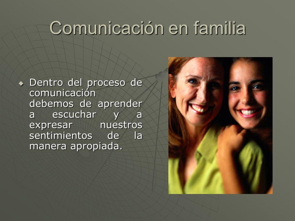 Comunicación en familia Dentro del proceso de comunicación debemos de aprender a escuchar y a expresar nuestros sentimientos de la manera apropiada. D