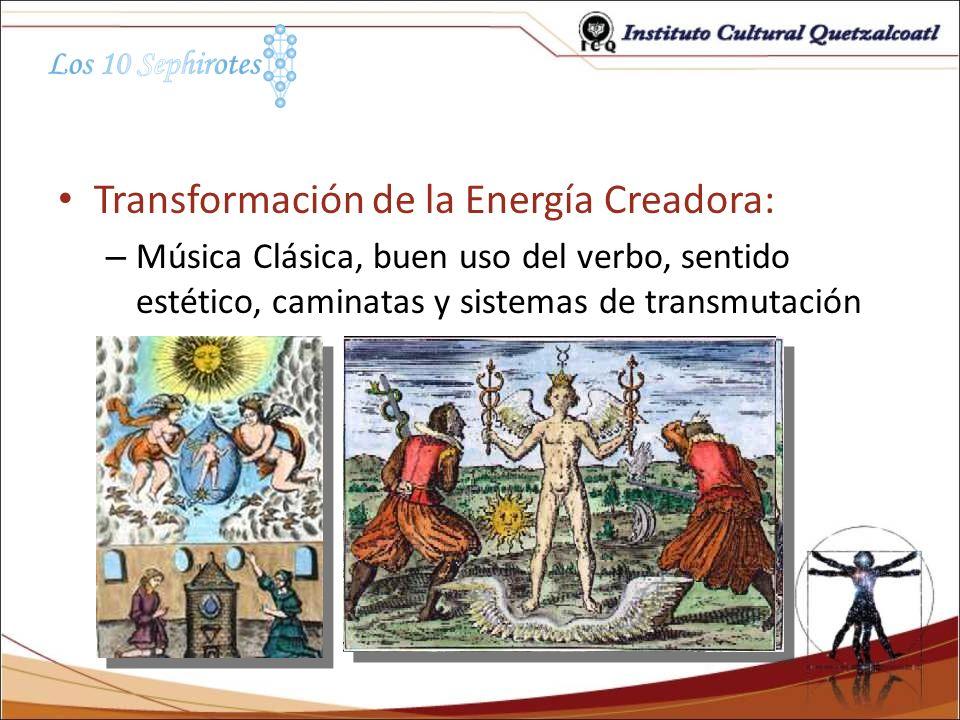 Transformación de la Energía Creadora: – Música Clásica, buen uso del verbo, sentido estético, caminatas y sistemas de transmutación