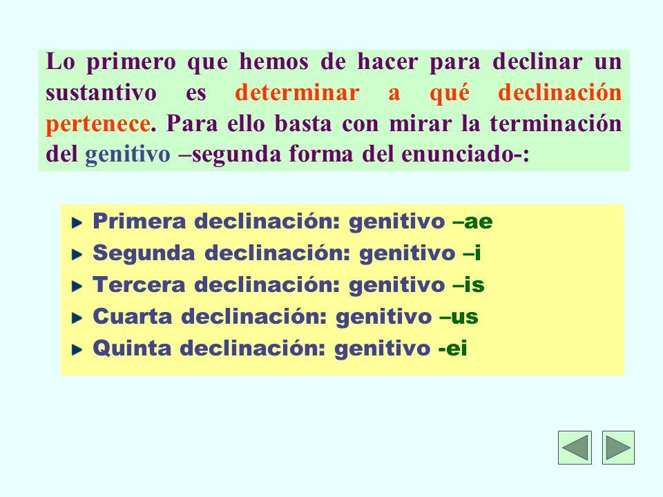 Lo primero que hemos de hacer para declinar un sustantivo es determinar a qué declinación pertenece.