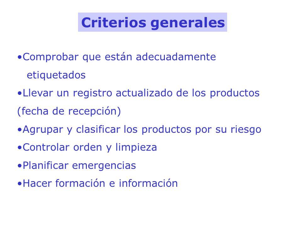 Comprobar que están adecuadamente etiquetados Llevar un registro actualizado de los productos (fecha de recepción) Agrupar y clasificar los productos