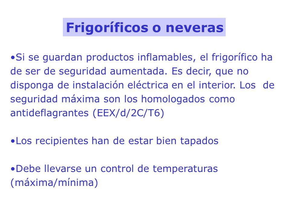 Si se guardan productos inflamables, el frigorífico ha de ser de seguridad aumentada. Es decir, que no disponga de instalación eléctrica en el interio