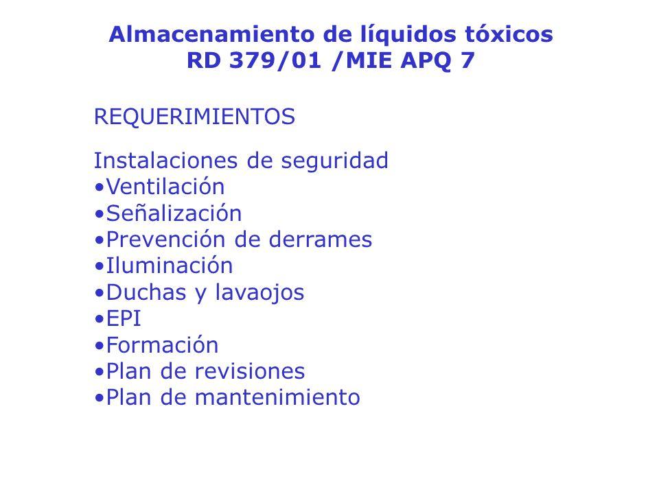 Almacenamiento de líquidos tóxicos RD 379/01 /MIE APQ 7 REQUERIMIENTOS Instalaciones de seguridad Ventilación Señalización Prevención de derrames Ilum