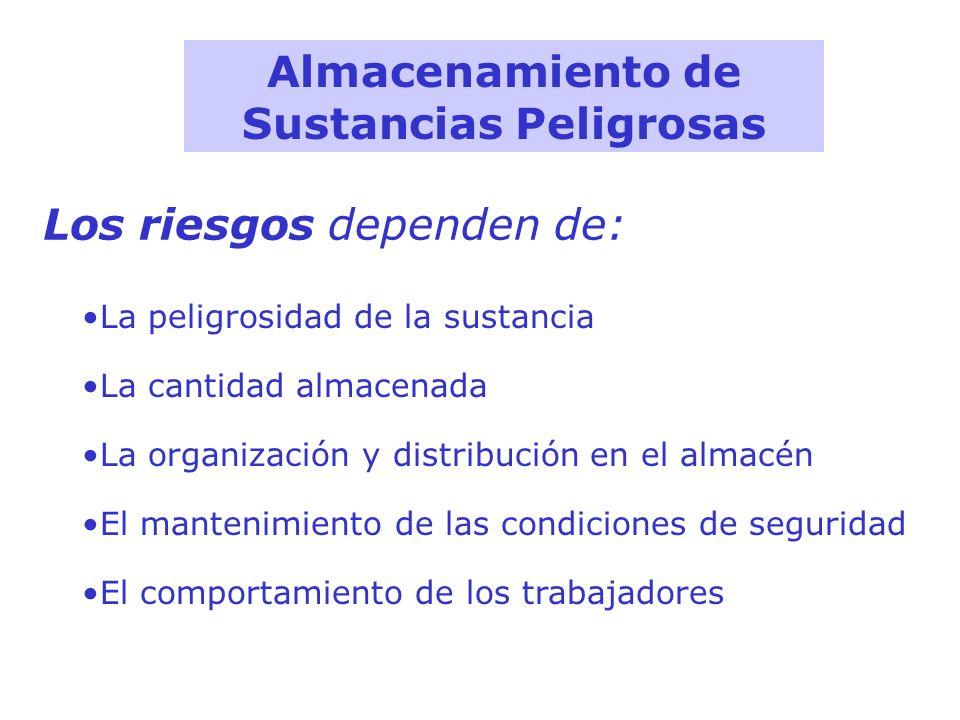 Almacenamiento de Sustancias Peligrosas La peligrosidad de la sustancia La cantidad almacenada La organización y distribución en el almacén El manteni