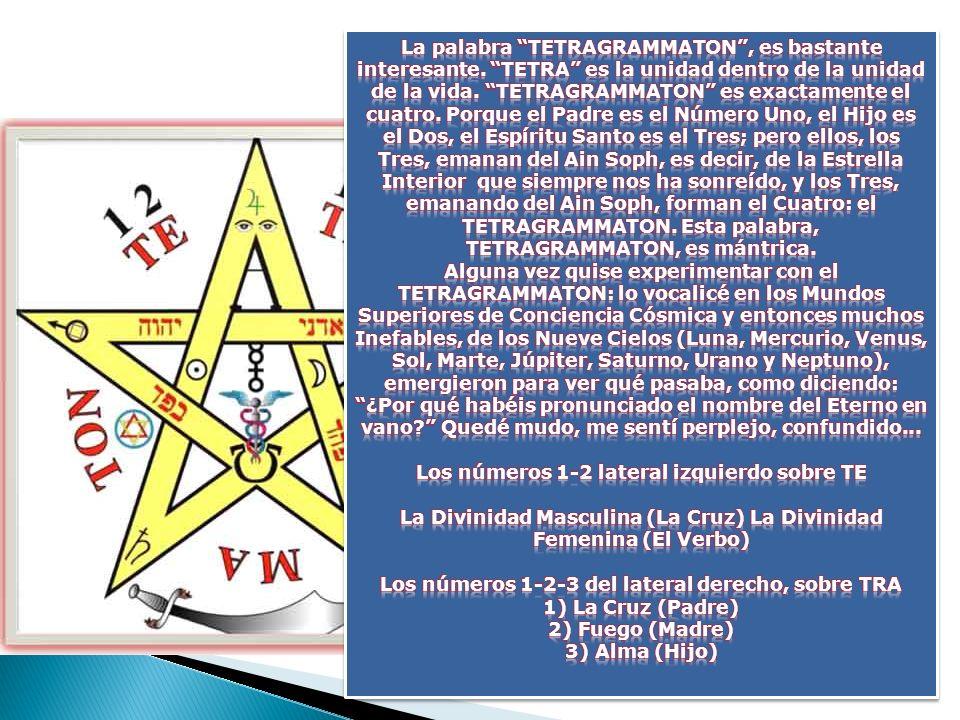 En el brazo derecho encontramos cuatro letras hebreas de derecha a izquierda: IOD-HEH-VAUH-HEH. Se leen JEHOVA. EL SER QUE ES, QUE SIEMPRE HA SIDO, Y
