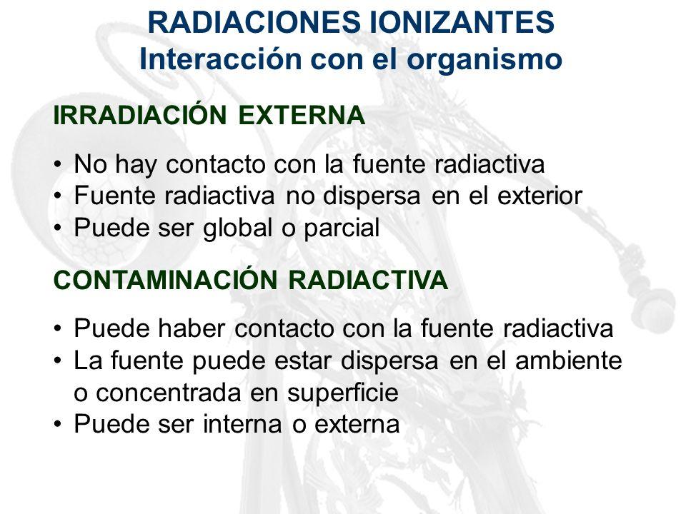 RADIACIONES IONIZANTES Interacción con el organismo IRRADIACIÓN EXTERNA No hay contacto con la fuente radiactiva Fuente radiactiva no dispersa en el e