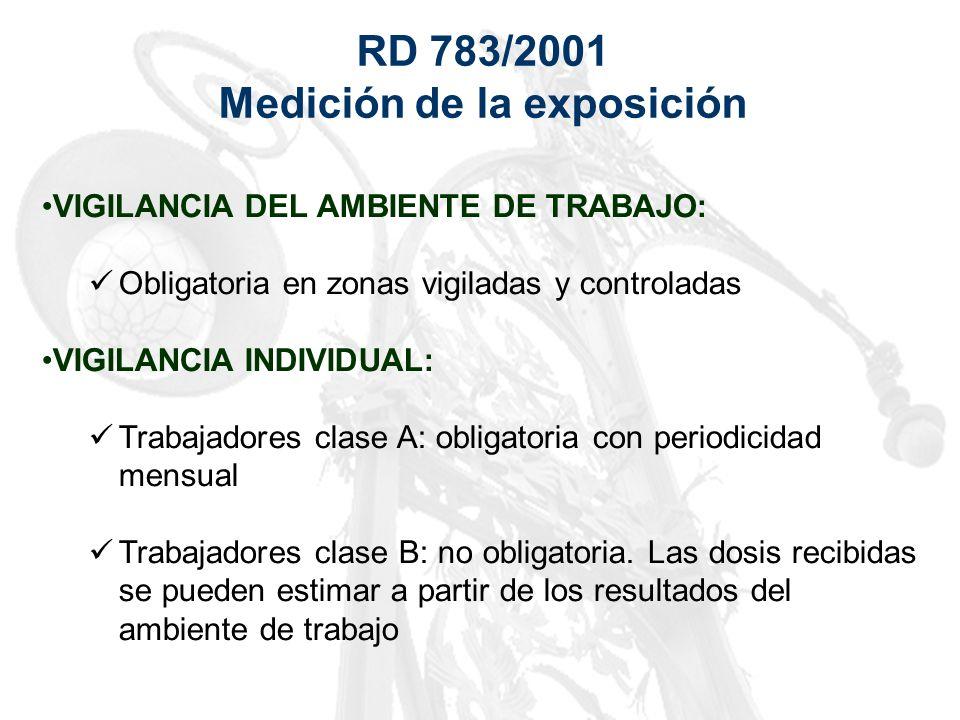 RD 783/2001 Medición de la exposición VIGILANCIA DEL AMBIENTE DE TRABAJO: Obligatoria en zonas vigiladas y controladas VIGILANCIA INDIVIDUAL: Trabajad
