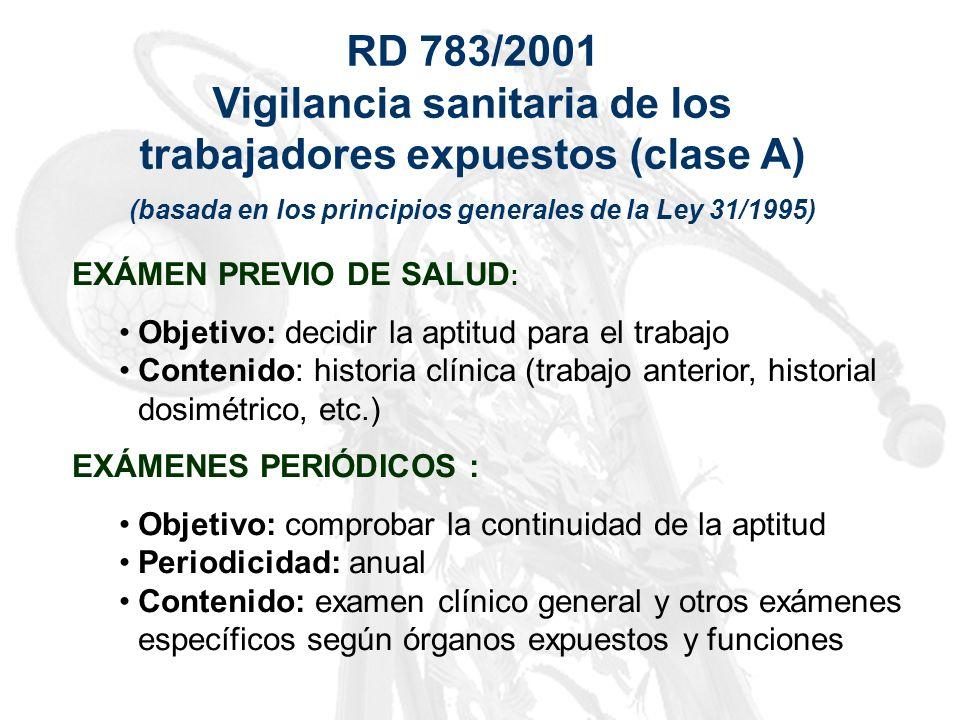 RD 783/2001 Vigilancia sanitaria de los trabajadores expuestos (clase A) (basada en los principios generales de la Ley 31/1995) EXÁMEN PREVIO DE SALUD