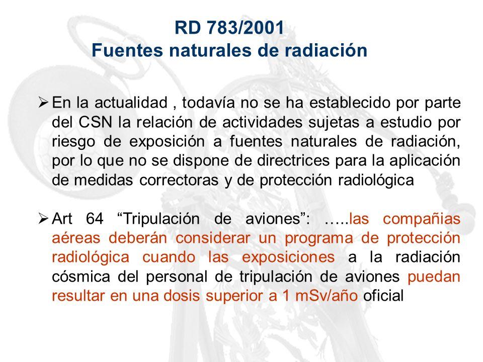 RD 783/2001 Fuentes naturales de radiación En la actualidad, todavía no se ha establecido por parte del CSN la relación de actividades sujetas a estud