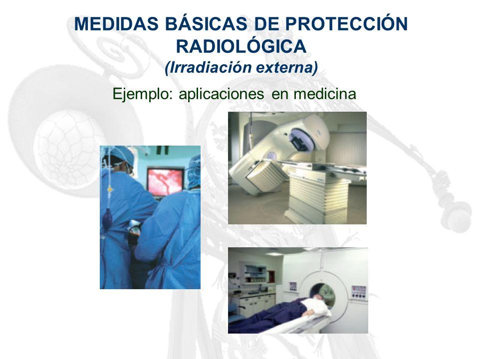 MEDIDAS BÁSICAS DE PROTECCIÓN RADIOLÓGICA (Irradiación externa) Ejemplo: aplicaciones en medicina