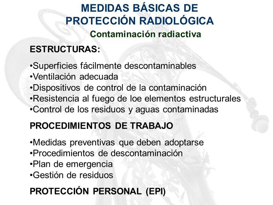 MEDIDAS BÁSICAS DE PROTECCIÓN RADIOLÓGICA Contaminación radiactiva ESTRUCTURAS: Superficies fácilmente descontaminables Ventilación adecuada Dispositi
