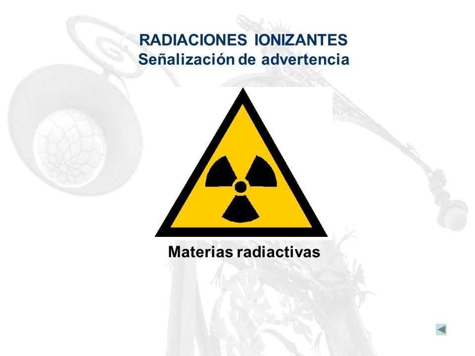 RADIACIONES IONIZANTES Señalización de advertencia Materias radiactivas
