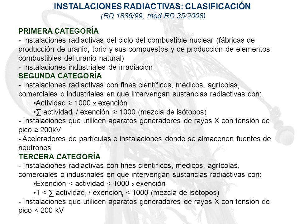 INSTALACIONES RADIACTIVAS: CLASIFICACIÓN (RD 1836/99, mod RD 35/2008) PRIMERA CATEGORÍA - Instalaciones radiactivas del ciclo del combustible nuclear