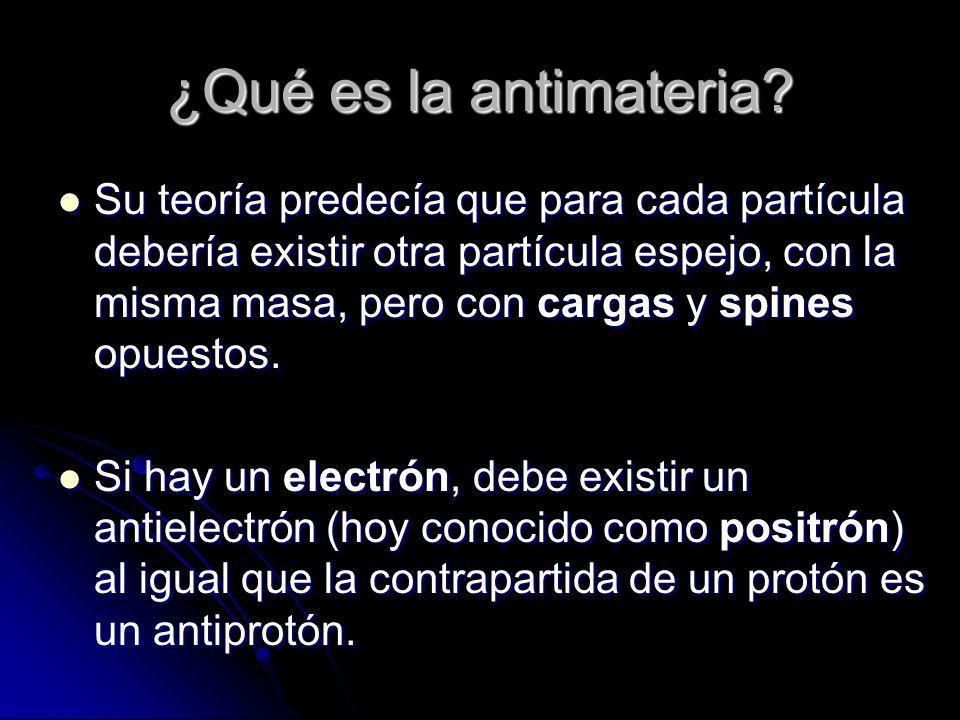 ¿Qué es la antimateria? Su teoría predecía que para cada partícula debería existir otra partícula espejo, con la misma masa, pero con cargas y spines