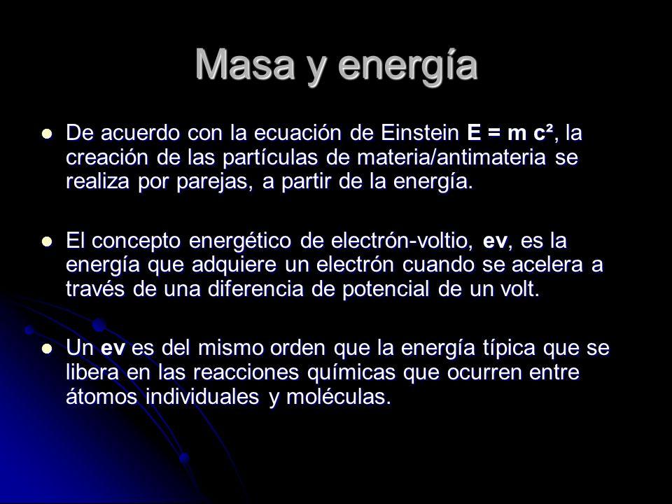 Masa y energía De acuerdo con la ecuación de Einstein E = m c², la creación de las partículas de materia/antimateria se realiza por parejas, a partir