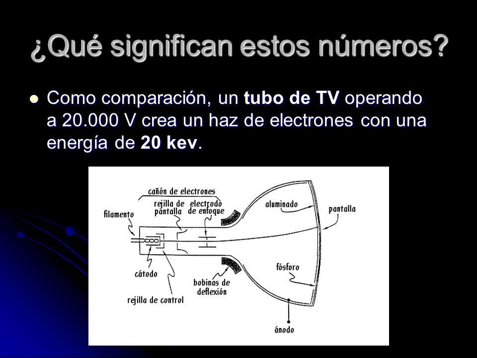 ¿Qué significan estos números? Como comparación, un tubo de TV operando a 20.000 V crea un haz de electrones con una energía de 20 kev. Como comparaci