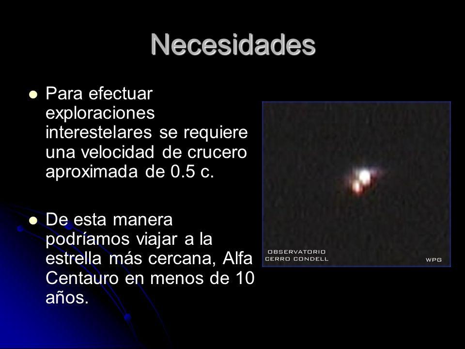 Necesidades Para efectuar exploraciones interestelares se requiere una velocidad de crucero aproximada de 0.5 c. De esta manera podríamos viajar a la