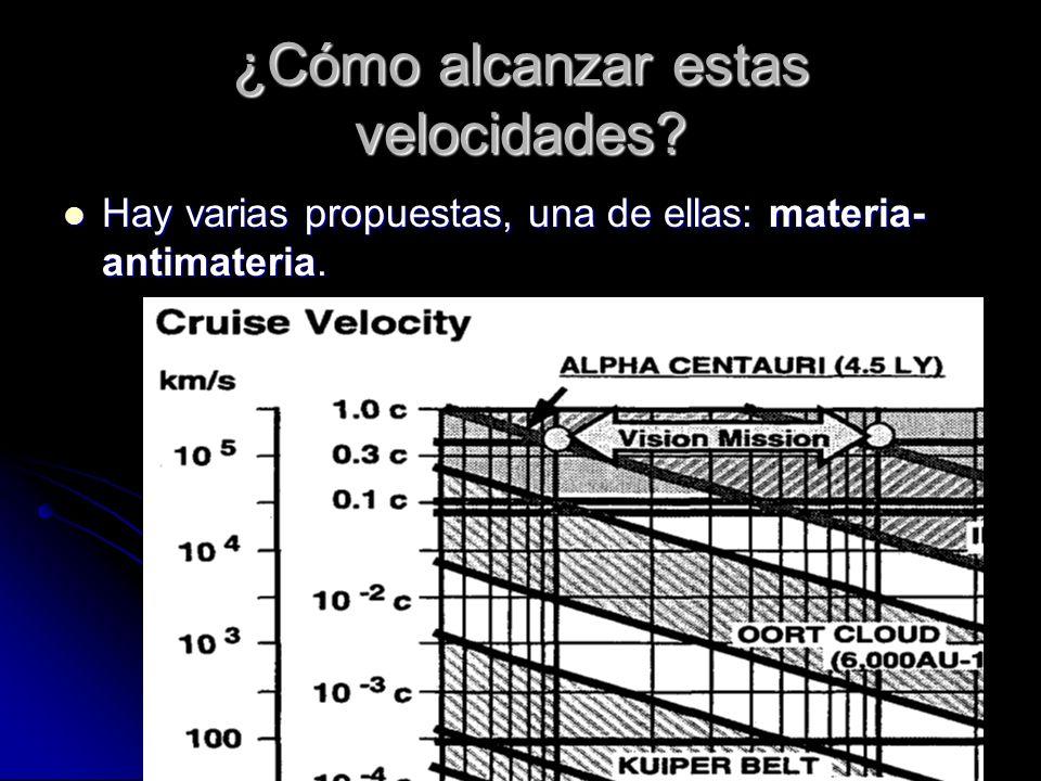 ¿Cómo alcanzar estas velocidades? Hay varias propuestas, una de ellas: materia- antimateria. Hay varias propuestas, una de ellas: materia- antimateria