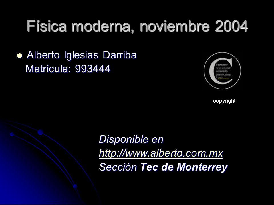 Física moderna, noviembre 2004 Alberto Iglesias Darriba Alberto Iglesias Darriba Matrícula: 993444 Matrícula: 993444 Disponible en http://www.alberto.