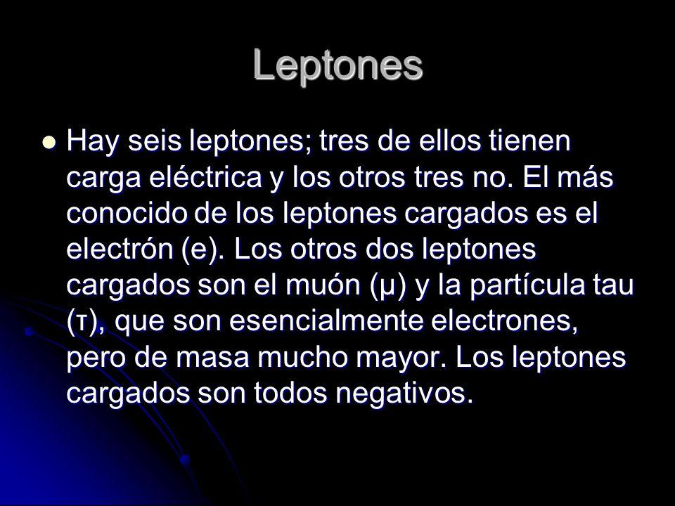 Leptones Hay seis leptones; tres de ellos tienen carga eléctrica y los otros tres no. El más conocido de los leptones cargados es el electrón (e). Los