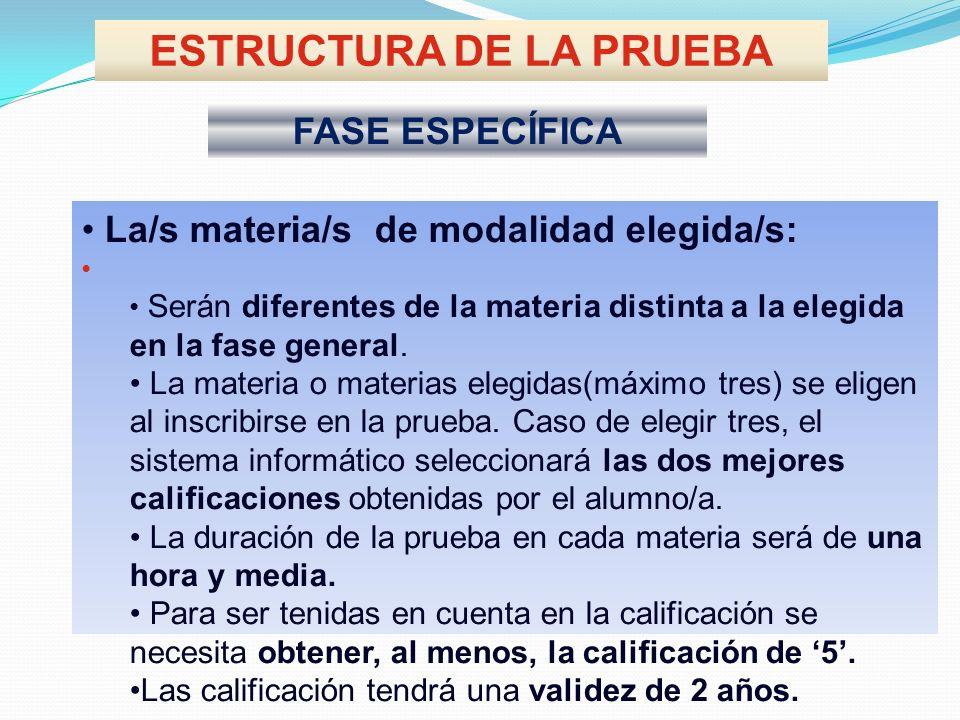 ESTRUCTURA DE LA PRUEBA FASE ESPECÍFICA La/s materia/s de modalidad elegida/s: Serán diferentes de la materia distinta a la elegida en la fase general.