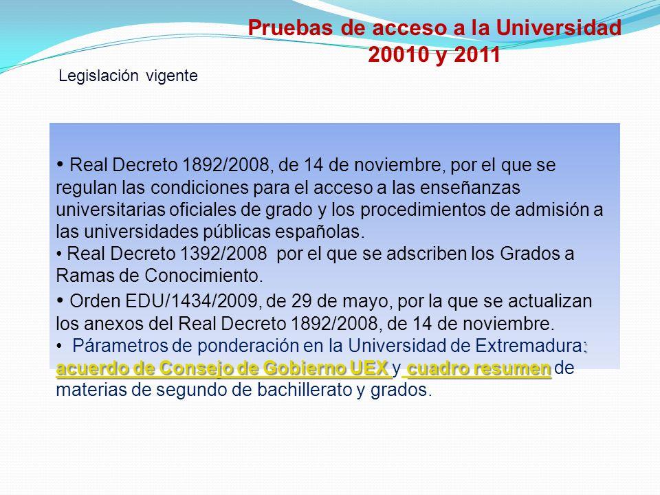 Real Decreto 1892/2008, de 14 de noviembre, por el que se regulan las condiciones para el acceso a las enseñanzas universitarias oficiales de grado y los procedimientos de admisión a las universidades públicas españolas.