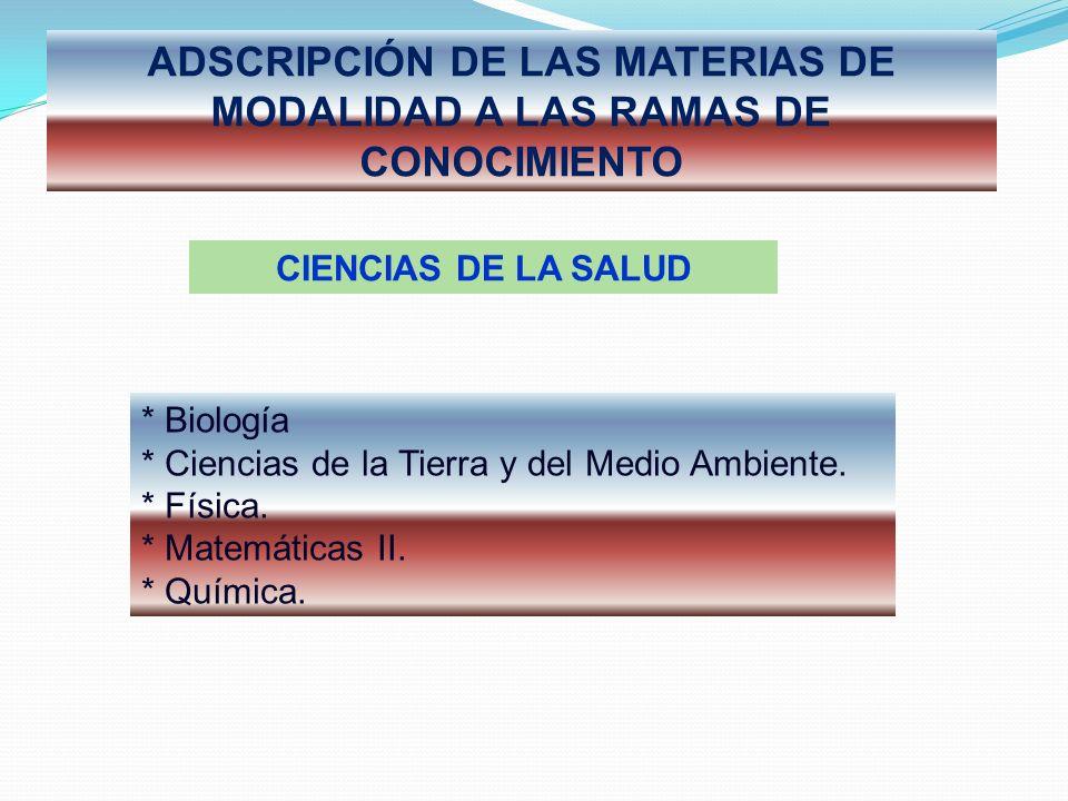 ADSCRIPCIÓN DE LAS MATERIAS DE MODALIDAD A LAS RAMAS DE CONOCIMIENTO CIENCIAS DE LA SALUD * Biología * Ciencias de la Tierra y del Medio Ambiente.