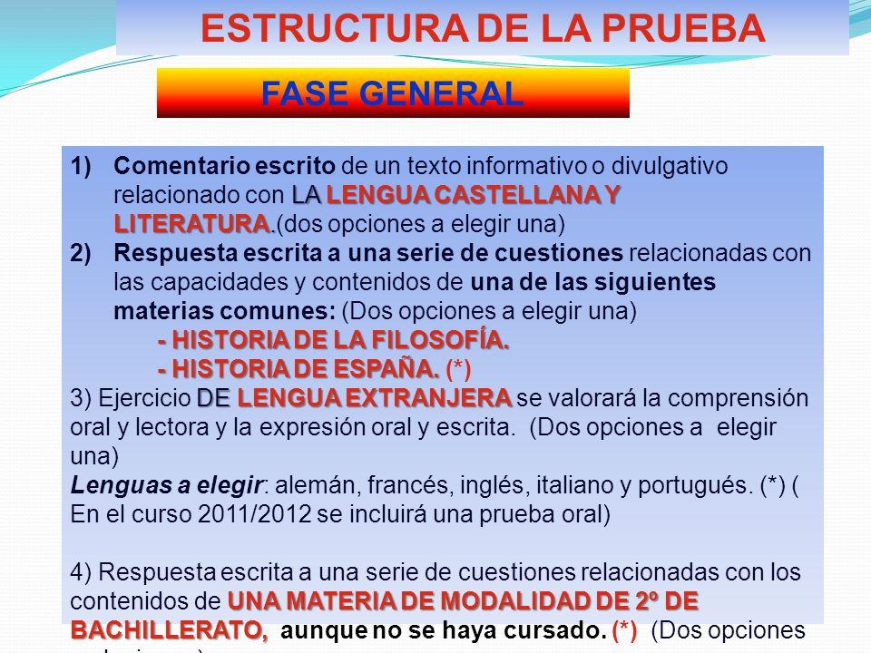 ESTRUCTURA DE LA PRUEBA FASE GENERAL LA LENGUA CASTELLANA Y LITERATURA. 1)Comentario escrito de un texto informativo o divulgativo relacionado con LA