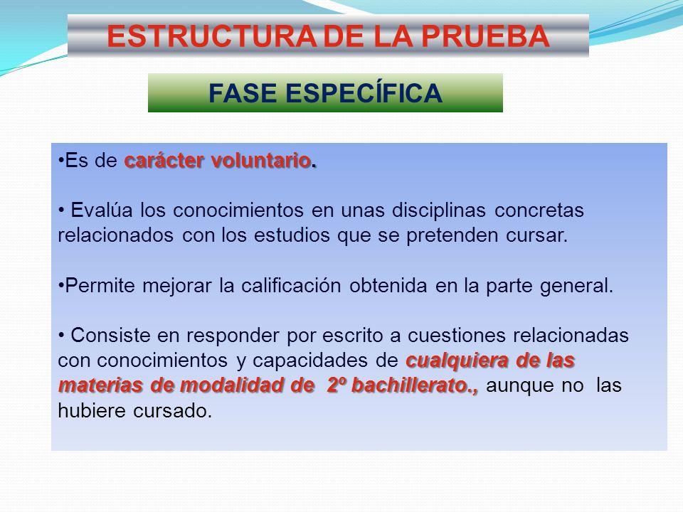 ESTRUCTURA DE LA PRUEBA FASE ESPECÍFICA carácter voluntario.Es de carácter voluntario. Evalúa los conocimientos en unas disciplinas concretas relacion