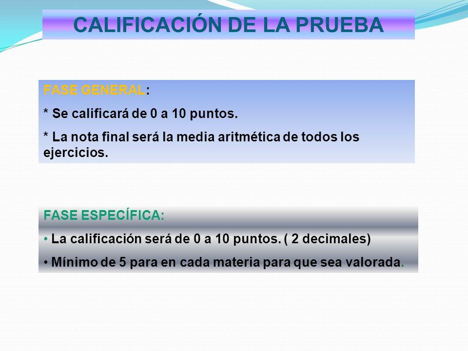 CALIFICACIÓN DE LA PRUEBA FASE GENERAL: * Se calificará de 0 a 10 puntos. * La nota final será la media aritmética de todos los ejercicios. FASE ESPEC