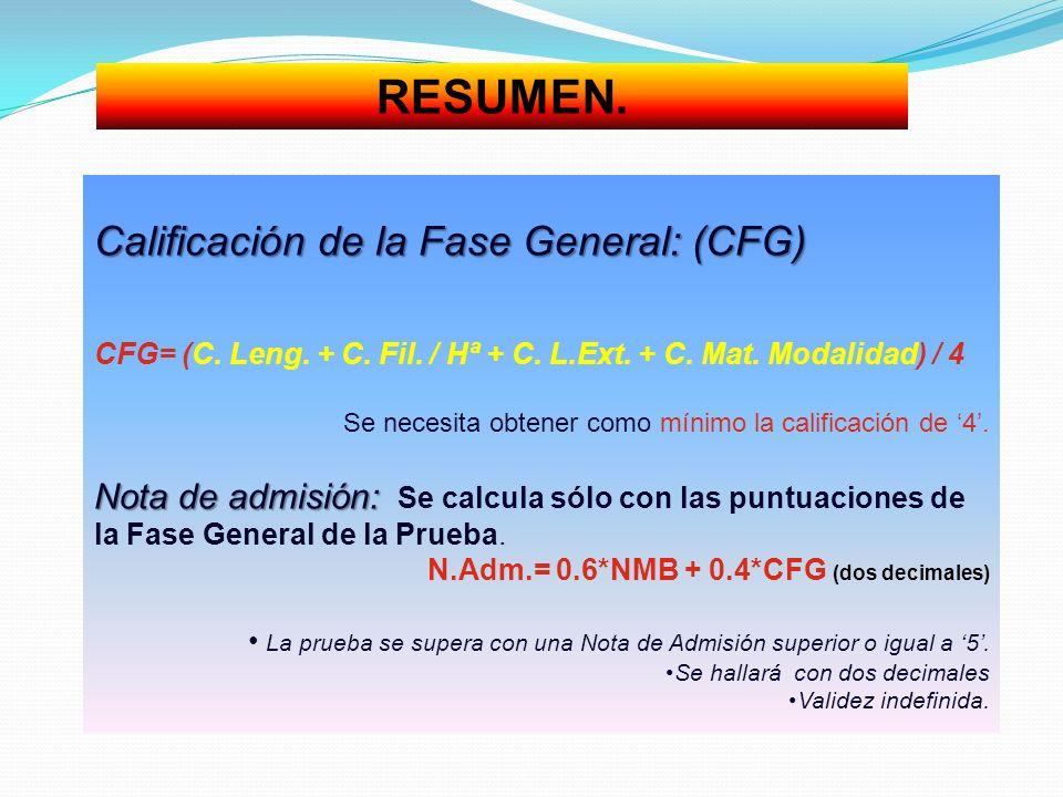 RESUMEN. Calificación de la Fase General: (CFG) CFG= (C. Leng. + C. Fil. / Hª + C. L.Ext. + C. Mat. Modalidad) / 4 Se necesita obtener como mínimo la