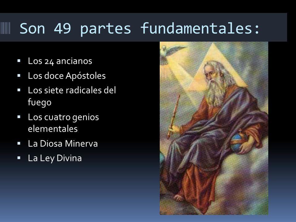 Son 49 partes fundamentales: Los 24 ancianos Los doce Apóstoles Los siete radicales del fuego Los cuatro genios elementales La Diosa Minerva La Ley Divina