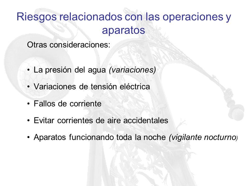 Riesgos relacionados con las operaciones y aparatos Otras consideraciones: La presión del agua (variaciones) Variaciones de tensión eléctrica Fallos d