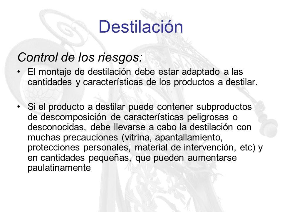 Destilación Control de los riesgos: El montaje de destilación debe estar adaptado a las cantidades y características de los productos a destilar. Si e