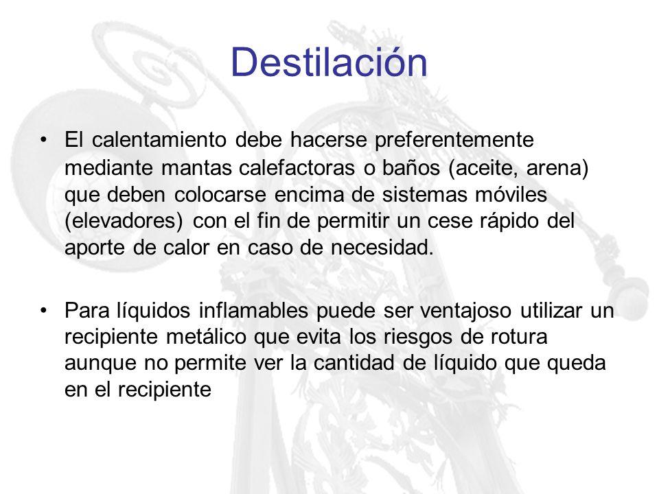 Destilación El calentamiento debe hacerse preferentemente mediante mantas calefactoras o baños (aceite, arena) que deben colocarse encima de sistemas