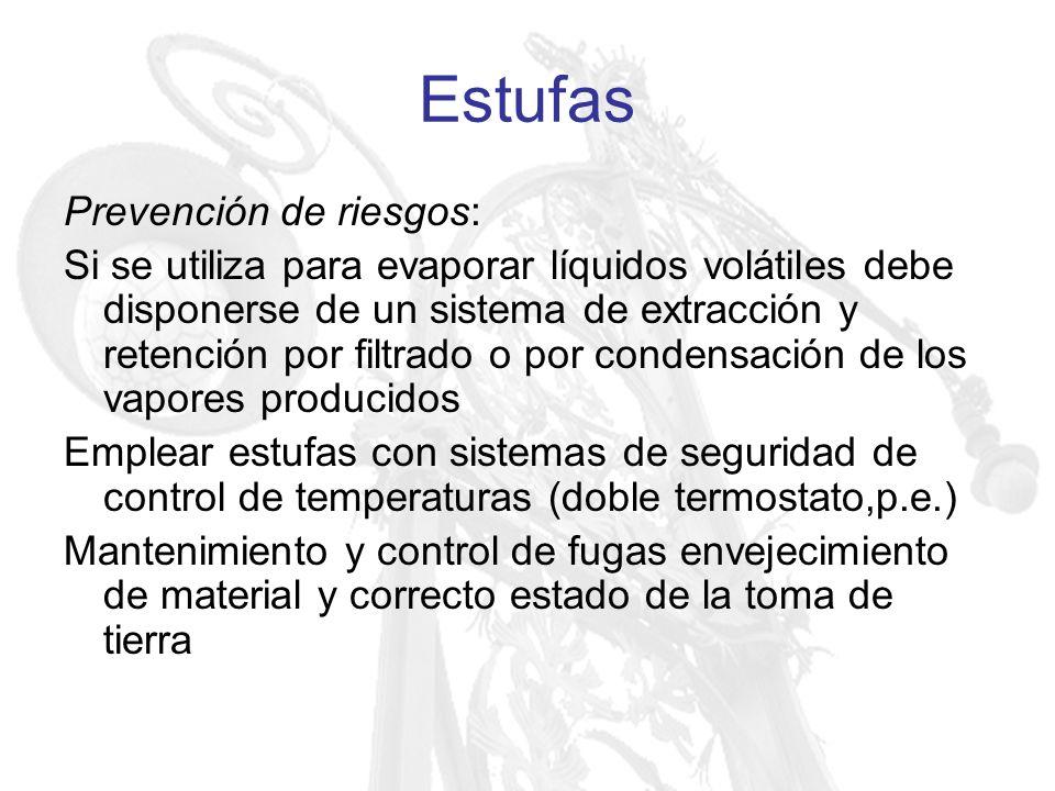 Estufas Prevención de riesgos: Si se utiliza para evaporar líquidos volátiles debe disponerse de un sistema de extracción y retención por filtrado o p