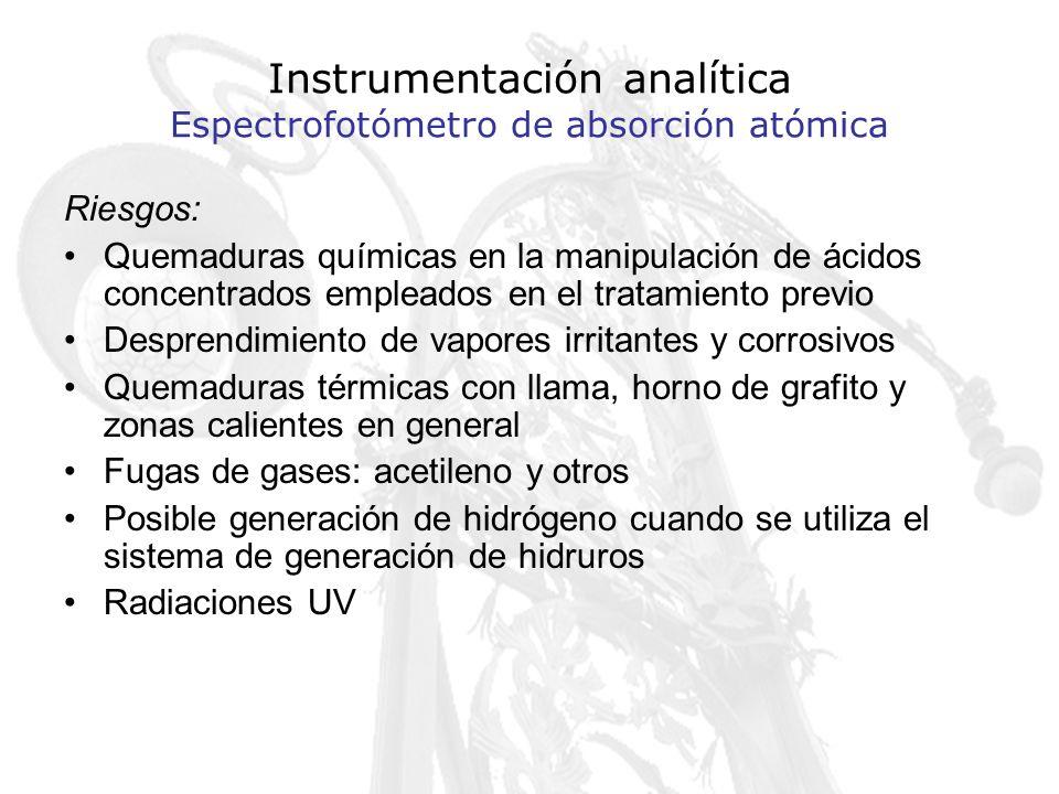 Instrumentación analítica Espectrofotómetro de absorción atómica Riesgos: Quemaduras químicas en la manipulación de ácidos concentrados empleados en e