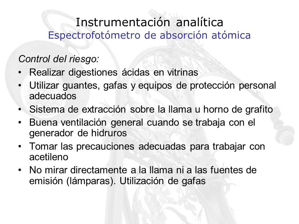 Instrumentación analítica Espectrofotómetro de absorción atómica Control del riesgo: Realizar digestiones ácidas en vitrinas Utilizar guantes, gafas y