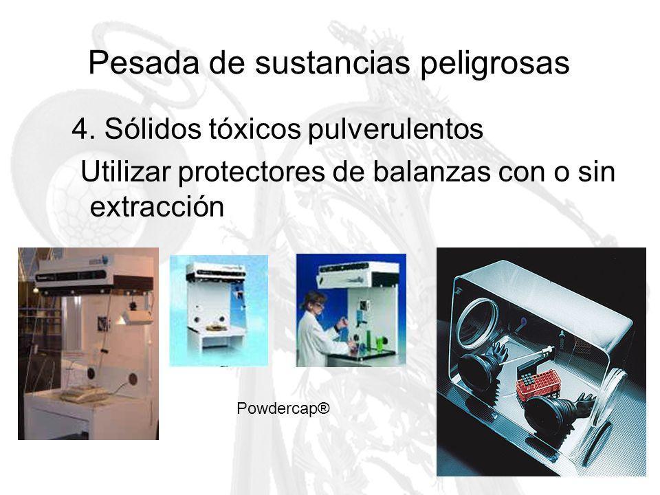 Pesada de sustancias peligrosas 4. Sólidos tóxicos pulverulentos Utilizar protectores de balanzas con o sin extracción Powdercap®