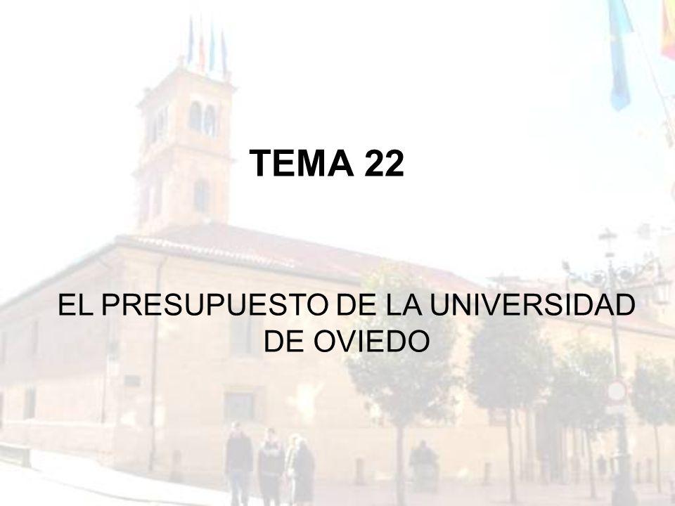 TEMA 22 EL PRESUPUESTO DE LA UNIVERSIDAD DE OVIEDO