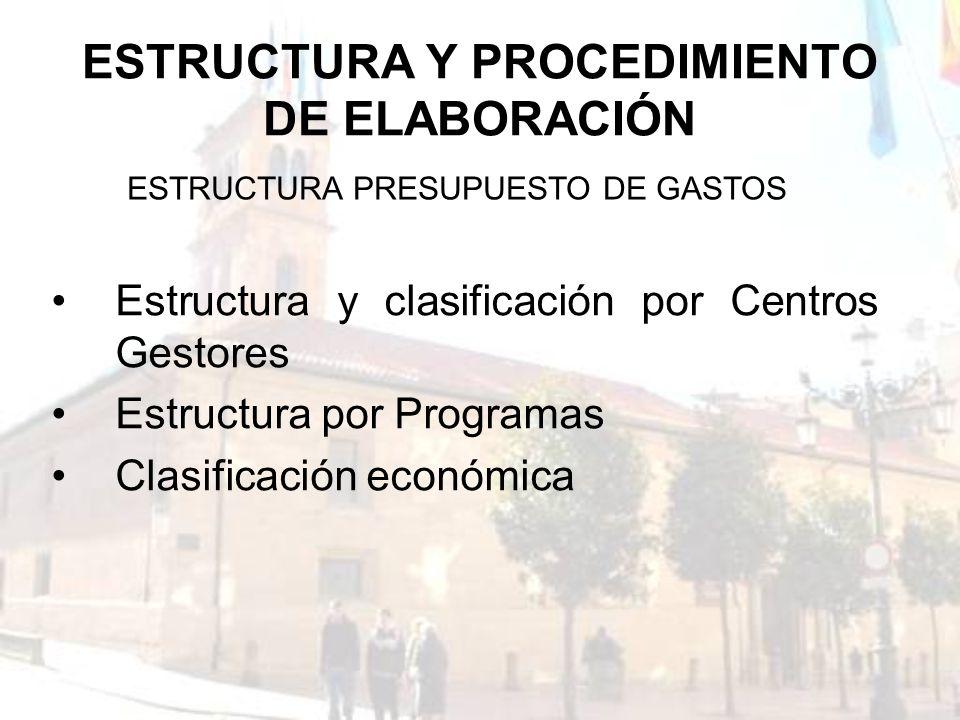 ESTRUCTURA Y PROCEDIMIENTO DE ELABORACIÓN Estructura y clasificación por Centros Gestores Estructura por Programas Clasificación económica ESTRUCTURA
