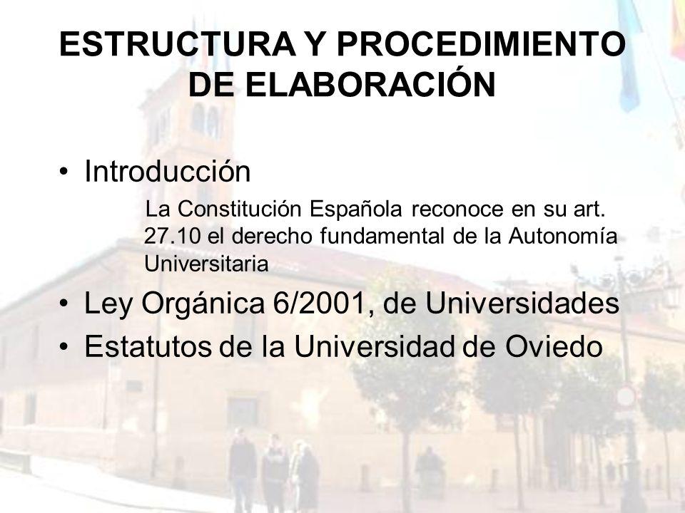 ESTRUCTURA Y PROCEDIMIENTO DE ELABORACIÓN Introducción La Constitución Española reconoce en su art. 27.10 el derecho fundamental de la Autonomía Unive