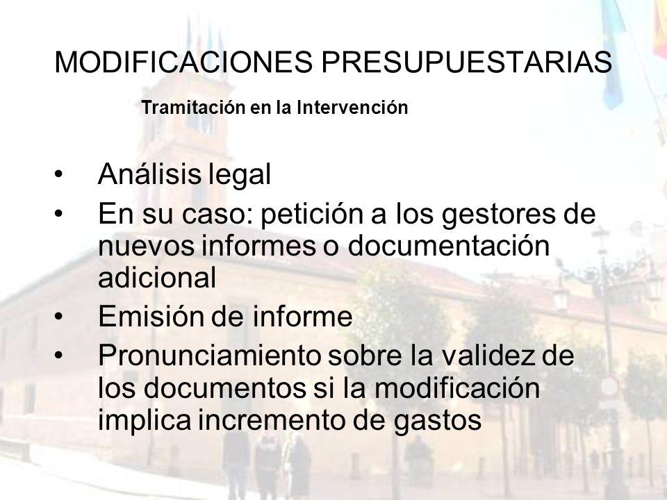 MODIFICACIONES PRESUPUESTARIAS Análisis legal En su caso: petición a los gestores de nuevos informes o documentación adicional Emisión de informe Pron