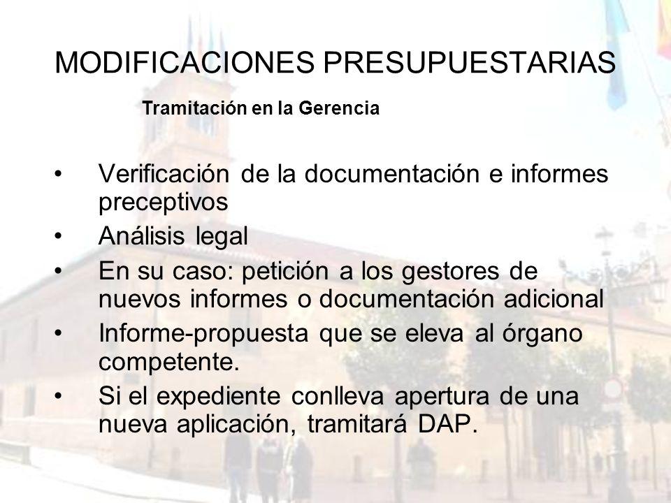 MODIFICACIONES PRESUPUESTARIAS Verificación de la documentación e informes preceptivos Análisis legal En su caso: petición a los gestores de nuevos in