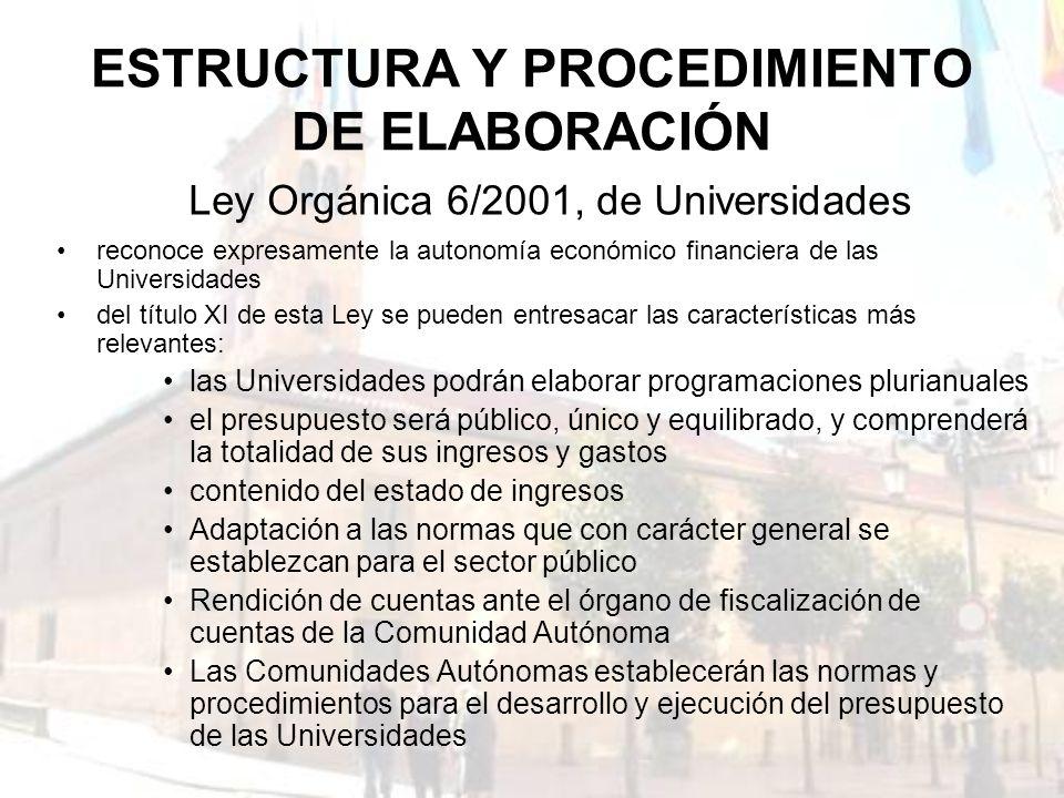 ESTRUCTURA Y PROCEDIMIENTO DE ELABORACIÓN reconoce expresamente la autonomía económico financiera de las Universidades del título XI de esta Ley se pu